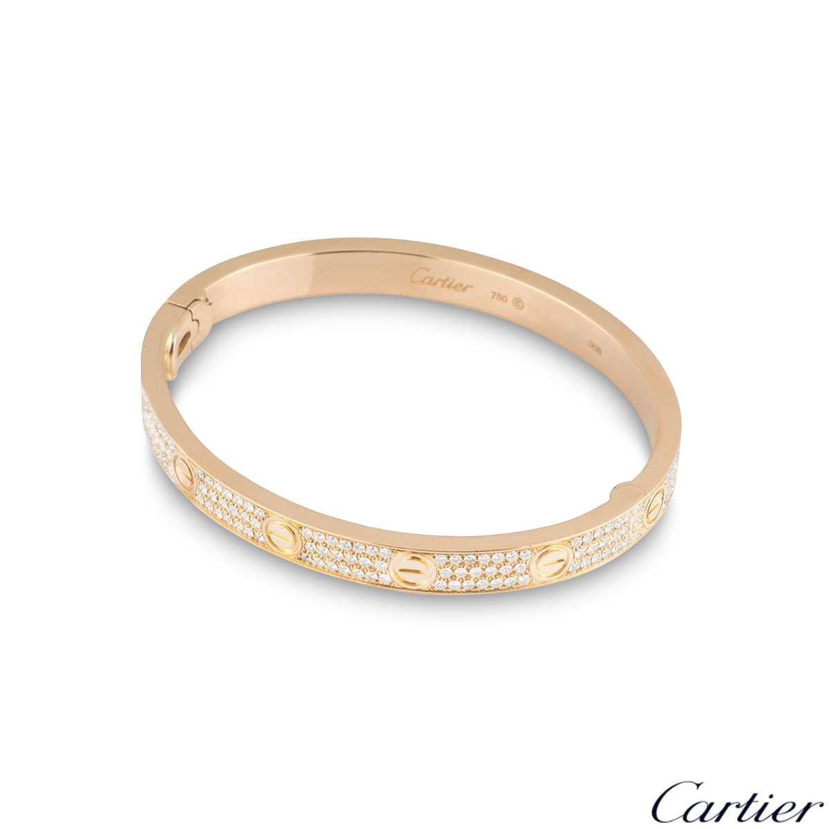 Cartier Rose Gold Full Pave Diamond Love Bracelet Size 16 N6036916